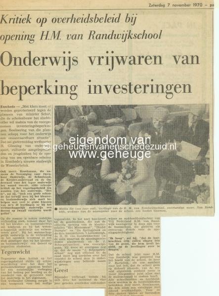 1970-11-07 Opening H.M. van Randwijkschool, 7 November 1970, bron Wim Geverink.jpg