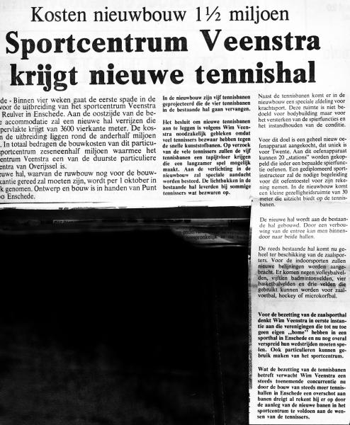 1980-05-23 Sportcentrum Veenstra krijgt tennishal tekst.jpg