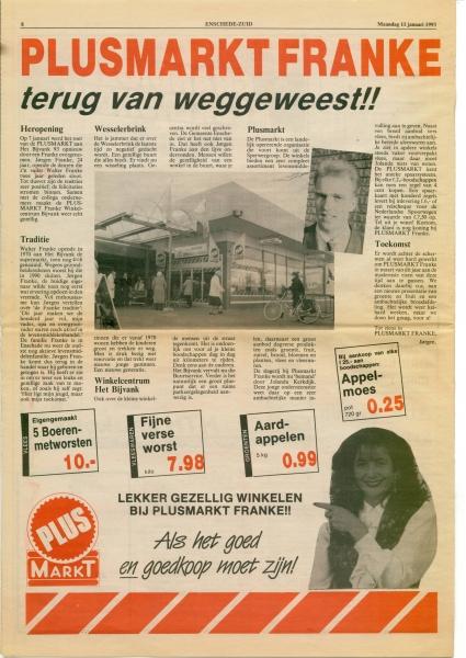 1993 11 juni, heropening Plusmarkt Franke winkelcentrum het bijvank, bron WF Franke.jpg