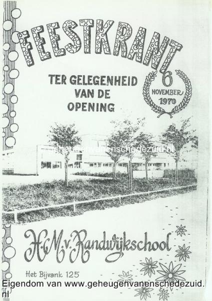 1970, HM van Randwijkschool, Feestkrant opening H.M. van Randwijkschool, 6 november 1970, bron Wim Geverink.jpg