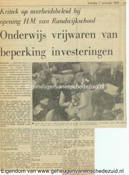 1970, HM van Randwijkschool, Opening H.M. van Randwijkschool, 7 November 1970, bron Wim Geverink.jpg
